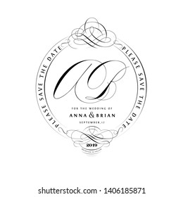 Save The Date Vintage Calligraphic Design with A and B Monogram