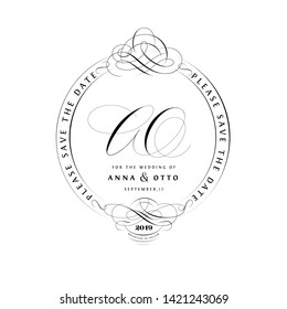 Save The Date Vintage Calligraphic Design with A and O Initials Monogram