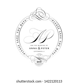 Save The Date Vintage Calligraphic Design with A and P Monogram