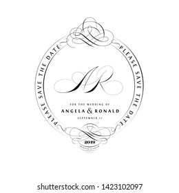 Save The Date Vintage Calligraphic Design with A and R Monogram