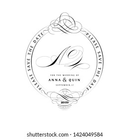 Save The Date Vintage Calligraphic Design with A and Q Initials Monogram