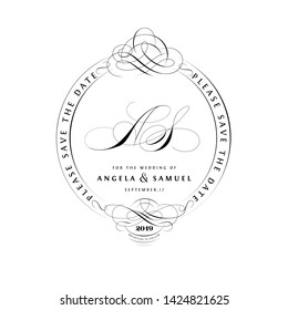 Save The Date Vintage Calligraphic Design with A and S Initials Monogram
