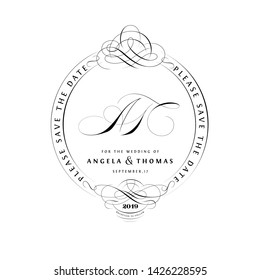Save The Date Vintage Calligraphic Design with A and T Monogram