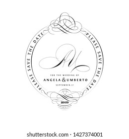 Save The Date Vintage Calligraphic Design with A and U Initials Monogram