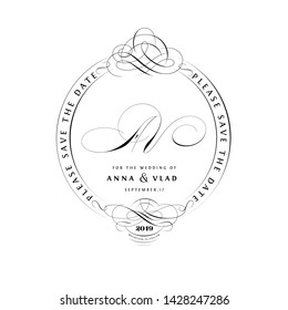 Save The Date Vintage Calligraphic Design with A and V Initials Monogram