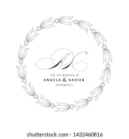 Save The Date Vintage Calligraphic Design with A and X Initials Monogram