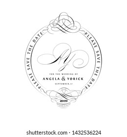 Save The Date Vintage Calligraphic Design with A and Y Monogram