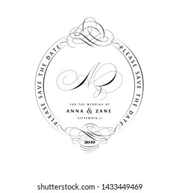 Save The Date Vintage Calligraphic Design with A and Z Monogram
