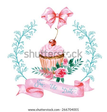 save date watercolor blooming rose cupcake stock vector royalty