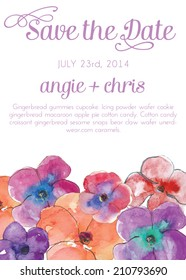 Save The Date with Watercolor Pansies
