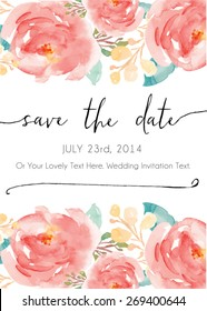 Save The Date Watercolor Vector Invitation.