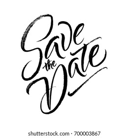 Save the date wedding brush lettering drawing Isolated on white background. Wedding phrase. Ink illustration for postcard.Modern brush calligraphy.