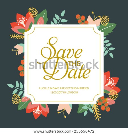 Save Date Wedding Card Frame Flowers Stock Vector (Royalty Free ...