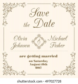 Save the date wedding card in retro style with decorative design elements. Vector illustration