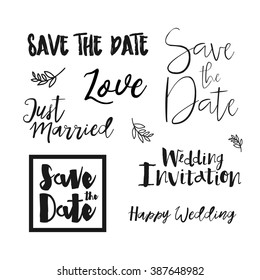 Save The Date Wedding card. Save the date templates, labels. Wedding invitation with hand drawn lettering Isolated