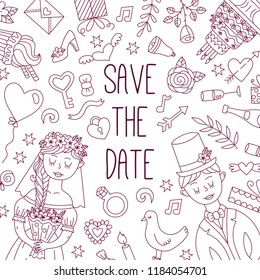 Save the date wedding doodle line banner vector template cute icons bride and groom