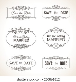 Save the Date Wedding Graphic Vector Set