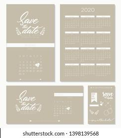 Save the date wedding invitation calendar 2020 template design