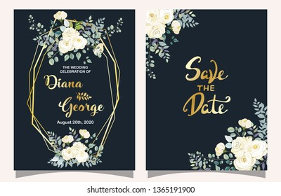 Save The Date, Wedding Invitation Card, Celebration Card, Invitation with Flower Background