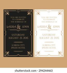 Save the Date - Wedding Invitation Card - Art Deco Vintage Style