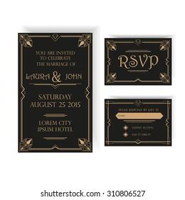 Save the Date - Wedding Invitation Card - RSVP - Art Deco Vintage Style