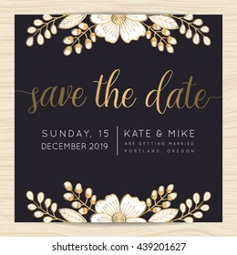 Save the date, wedding invitation card template decorate with golden flower floral wreath. Vector illustration.