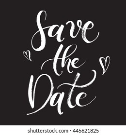 Save the Date Wedding invitation card. Hand-drawn with brush pen, Hand-lettered abstract card. Bride and groom invite guests. Black card to print.