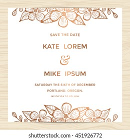 Save the date, wedding invitation card template with hand drawn flower wreath in copper color. Minimal design. Vector illustration.