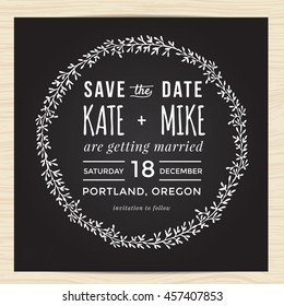 Save the date, wedding invitation card template decorate with hand drawn wreath flower.  Vector illustration.