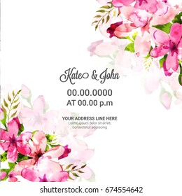 Save the Date, Wedding Invitation Card design decorated with beautiful pink watercolor flowers.