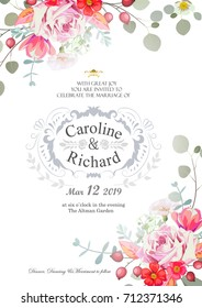 Save the date, wedding invitation card with hand drawn flower template