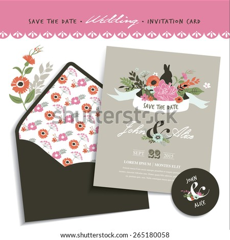 Save Date Wedding Invitation Card Envelope Stock Vector Royalty