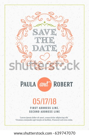 save date wedding invitation card design stock vector royalty free