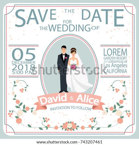 save date wedding invitation card template のベクター画像素材