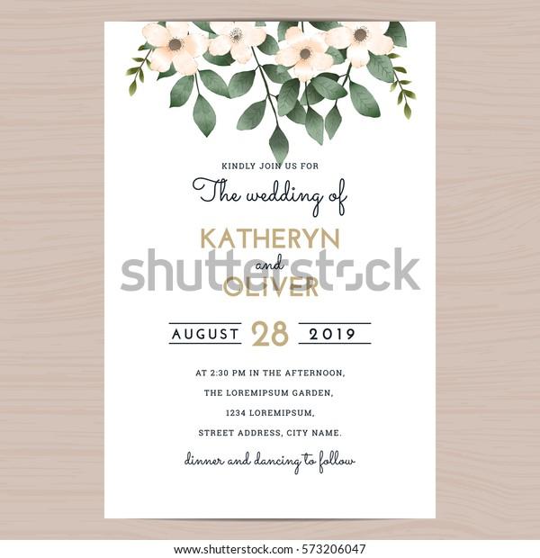 Save Date Wedding Invitation Card Template Stock Image