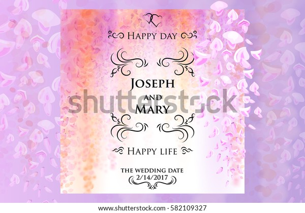 Save the date, wedding invitation card template with gentle flowers of blooming wisteria, floral background. Vector illustration. Eps10.