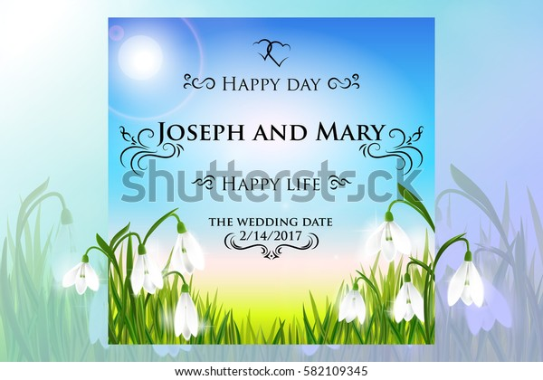 Save the date, wedding invitation card template with galanthus snowdrop flowers, green grass, swallows and blue sky, floral background. Vector illustration. Eps10.