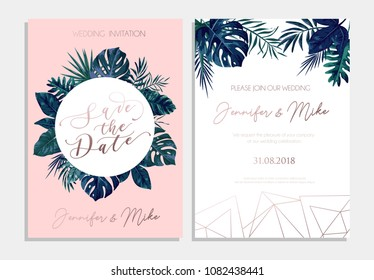 Save the date wedding invitation design. Elegance tropical design template for engagement or wedding with rose gold geometric lines, blue tropical leaves and blush pink background.Vector illustration.