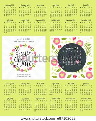 wedding invitation double sided card design template calendar for 2018