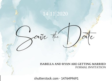 Save the date wedding invitation. Mable blue texture with blue ink anf gold foil texture. Boho branding, luxury presentation, rustic  pastel moden vector illustration.
