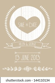 save the date wedding invitation template vector illustration