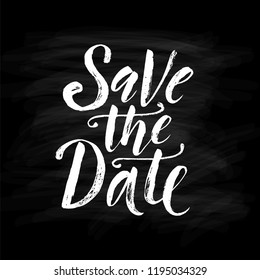 Save the date. Wedding phrase. Brush Lettering. Black and white vector illustration. Design for postcard, cards, poster, banner. Calligraphy text