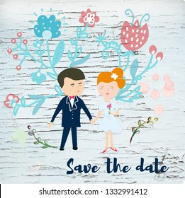 Save the date wedding set with bride and groom and flowers. Vector graphic illustration