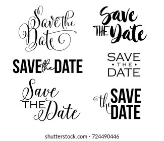 Save the Date word art text design vector