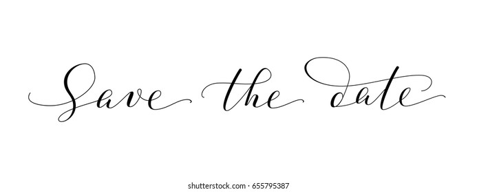 Save the date words, hand written custom calligraphy isolated on white. Elegant ornate lettering with swirls and swashes. Great for wedding invitations design, cards, banners, photo overlays.