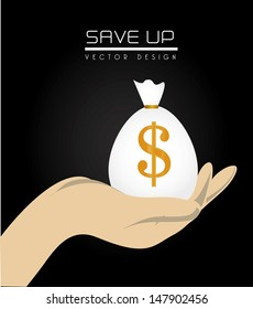save up design over black background vector illustration