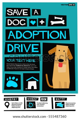 Save Dog Adoption Drive Flat Style Stock Vector (Royalty Free ...