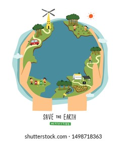 save the earth activities concept illustration