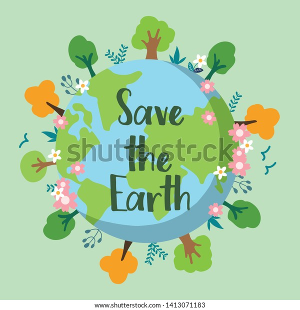 Save Earth Banner Campaign Save Environment Stock Vector Royalty
