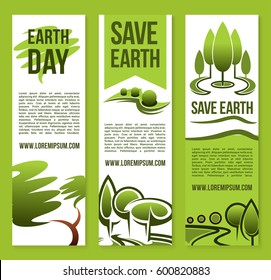 Save Earth banners design of green nature environment and forest trees and plants for global ecology protection concept of Earth Day. Vector set for planet conservation and pollution prevention
